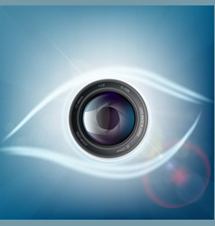 camera lens is in the form of a human eye vector image