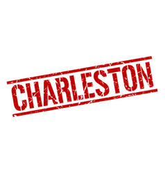 Charleston red square stamp vector