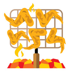 chicken wings on the grill flat style vector image