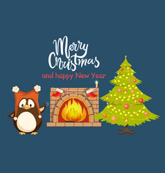 christmas and new year home penguin near tree vector image