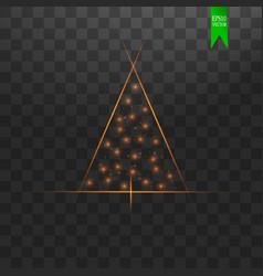 christmas tree made gold glitter bokeh lights and vector image