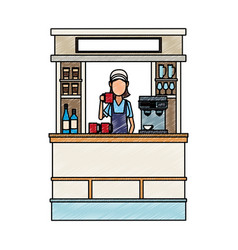 Coffee stand isolated scribble vector