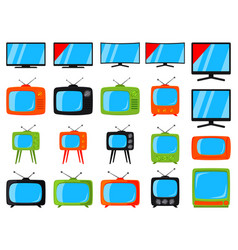 colorful cartoon 20 tv elements set vector image