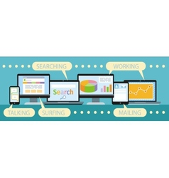 Concept of business workflow through devices vector