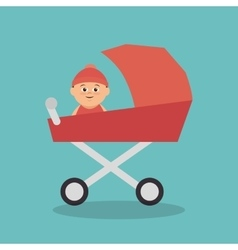 cute baby in cart vector image