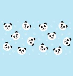 Cute panda seamless pattern blue vector
