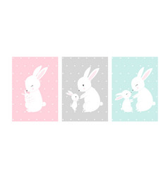cute posters with little rabbits prints vector image