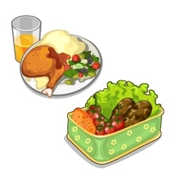 Delicious meal of meat and vegetables vector