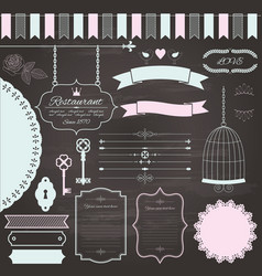 design elements set on chalkboard background vector image