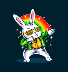 Easter bunny dabbing in his st patricks day vector