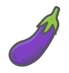 Eggplant colorful line icon vegetable and diet vector