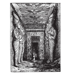 Entrance to the great temple at abu simbel vector