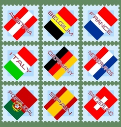 European flags on stamps vector