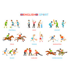 Famous english traditional national sport kinds vector