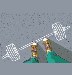 feet of young man and barbell painted on asphalt vector image