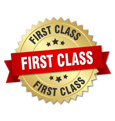 First class 3d gold badge with red ribbon vector