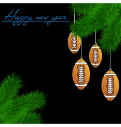 Football balls on Christmas tree branch vector