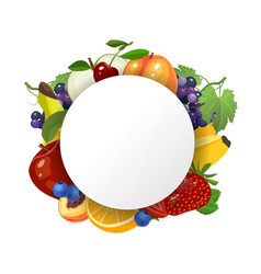 fruits background with circle in the centre vector image
