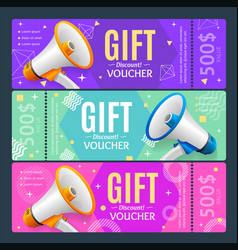 gift voucher card set template monetary value vector image