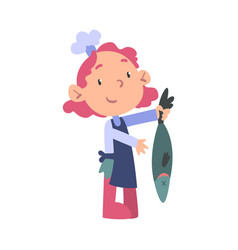 Girl chef cooking fish cute child cooker vector