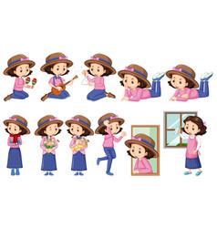 Girl in pink shirt doing different activities vector