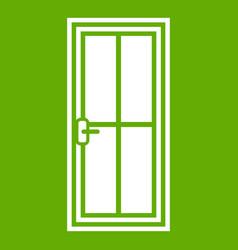 Glass door icon green vector