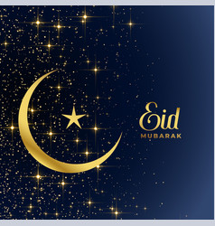 Golden moon and star sparkles eid mubarak vector