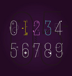 graphic flat line art style numbers set geometric vector image
