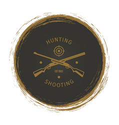 grunge hunt club logo with rifle vector image