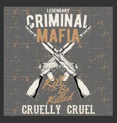 grunge style vintage logo criminal mafia with vector image