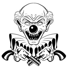 Hand drawn of angry clown with guns isolated vector