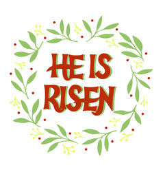 Hand lettering with inscription he is risen and vector