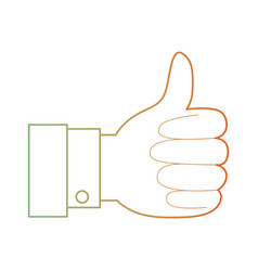 Hand thumb up icon in degraded green to red color vector