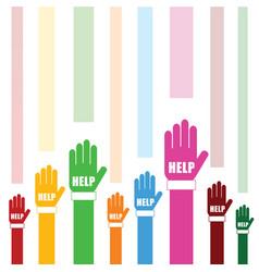 Hands help set in color vector