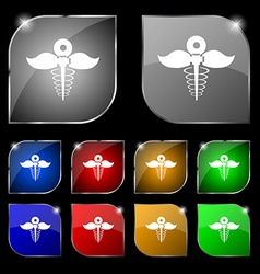 Health care icon sign Set of ten colorful buttons vector image