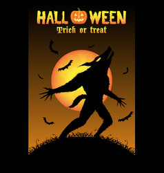 howling werewolf with halloween background vector image