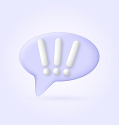 icon 3d bubbles exclamation mark of plastic vector image
