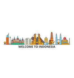 Indonesia outline skyline indonesian flat thin vector