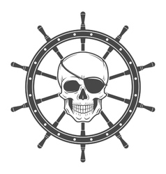 Jolly Roger with eyepatch logo template Evil vector image