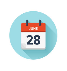 June 28 flat daily calendar icon date and vector