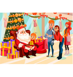 kid sitting with santa in mall parents take photo vector image