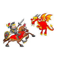 Knight on horse fighting the dragon vector