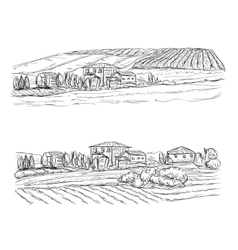 Landscape with Fields and Villages Vineyard vector image