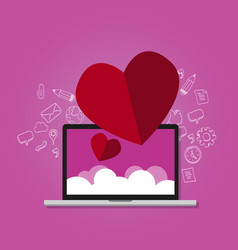 love shape on laptop with cloud screen online vector image