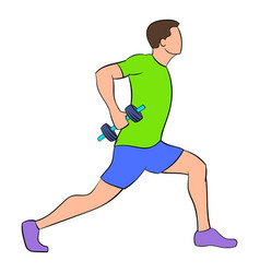 man doing lunges with dumbbells icon cartoon vector image