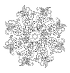 Mendie mandala with flowers and leaves for vector