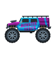 Monster truck vehicle jeep car with large tires vector