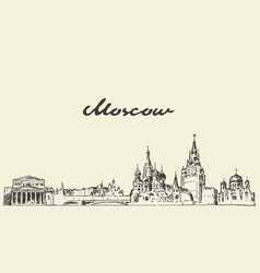 moscow skyline russia hand drawn sketch vector image