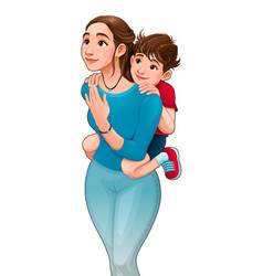 Mother with son on her back vector