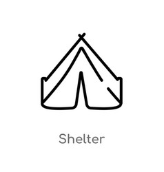Outline shelter icon isolated black simple line vector